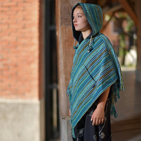 Damen Wendeponcho Relaxed türkis